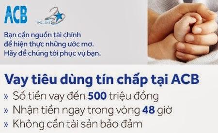 Dịch vụ vay tín chấp ngân hàng ACB