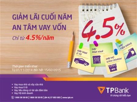 Ngân hàng TPBank giảm lãi suất cho vay còn 4,5%/năm